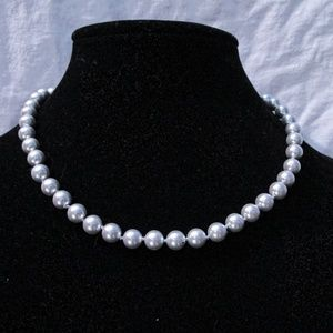 Monet silver pearl necklace
